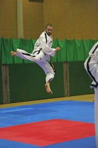 flying mid air kick